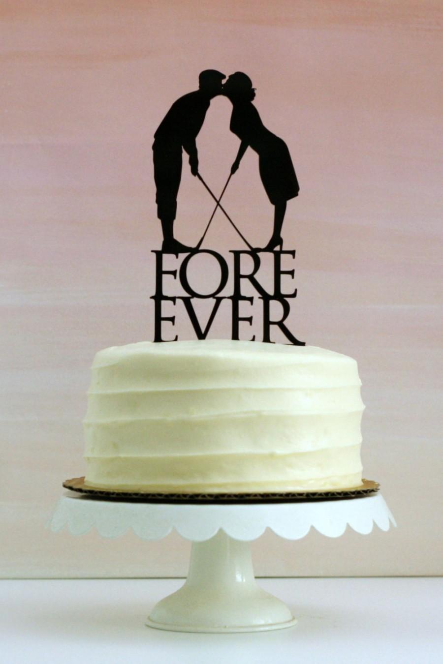 Свадьба - Fore Ever Golf Wedding Cake Topper with Silhouettes - MADE TO ORDER - Customizable
