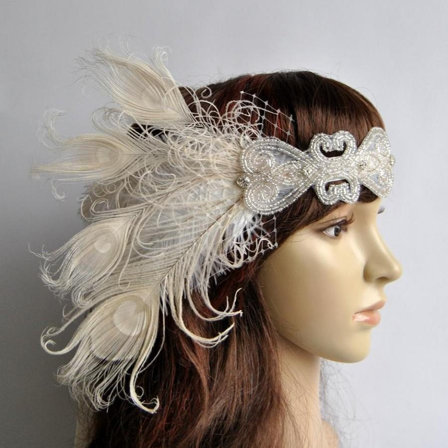 Ivory Peacock Dream The Great Gatsby Headband, 1920s ...