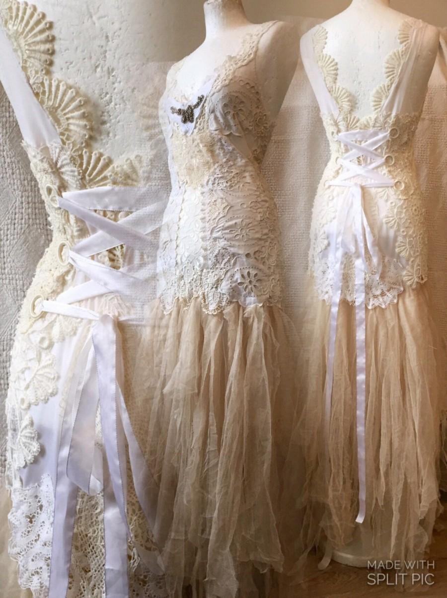Lace Wedding Dressprincess Gownbridal Gownwearable Artfairy Dresstulle Train Handmade Weddingcustommade