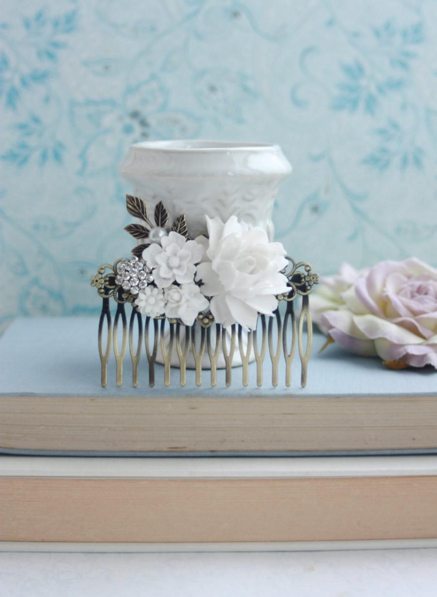 Wedding - White Flowers Large Comb, Rose, Pearl, Rhinestone Diamente, Leaf Sprig Antiqued Brass Hair Comb. White Vintage Rustic, White Bridal Wedding
