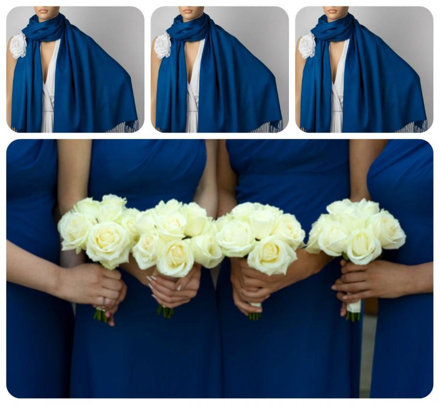 Mariage - Set of Three Royal Blue Shawls, Wedding Shawl,Dark Blue Pashmina, Bridal Wrap,Bridesmaid Shawl, Bridesmaid Gift,Solid Color Scarf,Brooch Pin