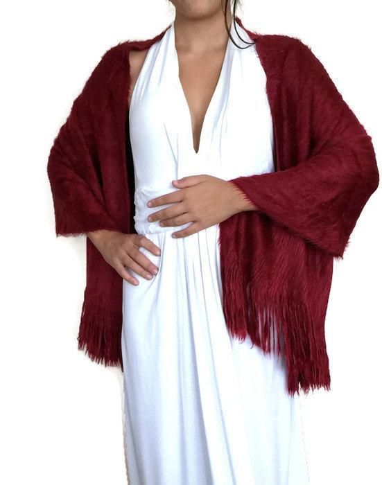 Mariage - Burgundy Winter Wedding Scarf, Winter Shawl, Fuzzy Scarf, Furry Wrap, Fringed, Blanket Scarf, Long Scarf, Bridal Scarf, Bridesmaid Gift