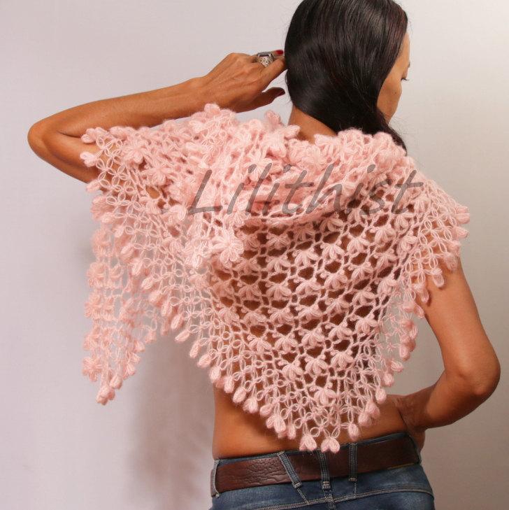 Hochzeit - Pink Crochet Shawl, Bridal Shrug Shawl Bolero, Triangle Mohair Shawl, Bridal Wrap, Loop Scarf, Shrug, Gift For Her Romantic Wedding Cover Up