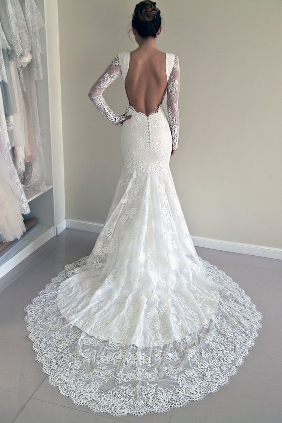 Lace Wedding Dress Custom Made Trumpet Silhouette Open Back Hourglass SIlhouette Gown