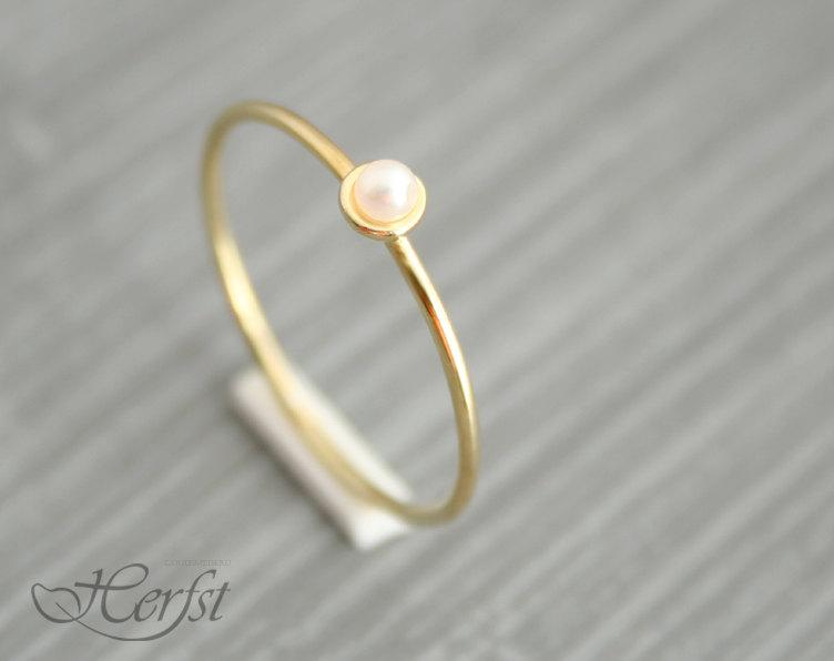 Wedding - 14k pearl solid gold ring, engagement ring, wedding ring, gold pearl ring, Handmade