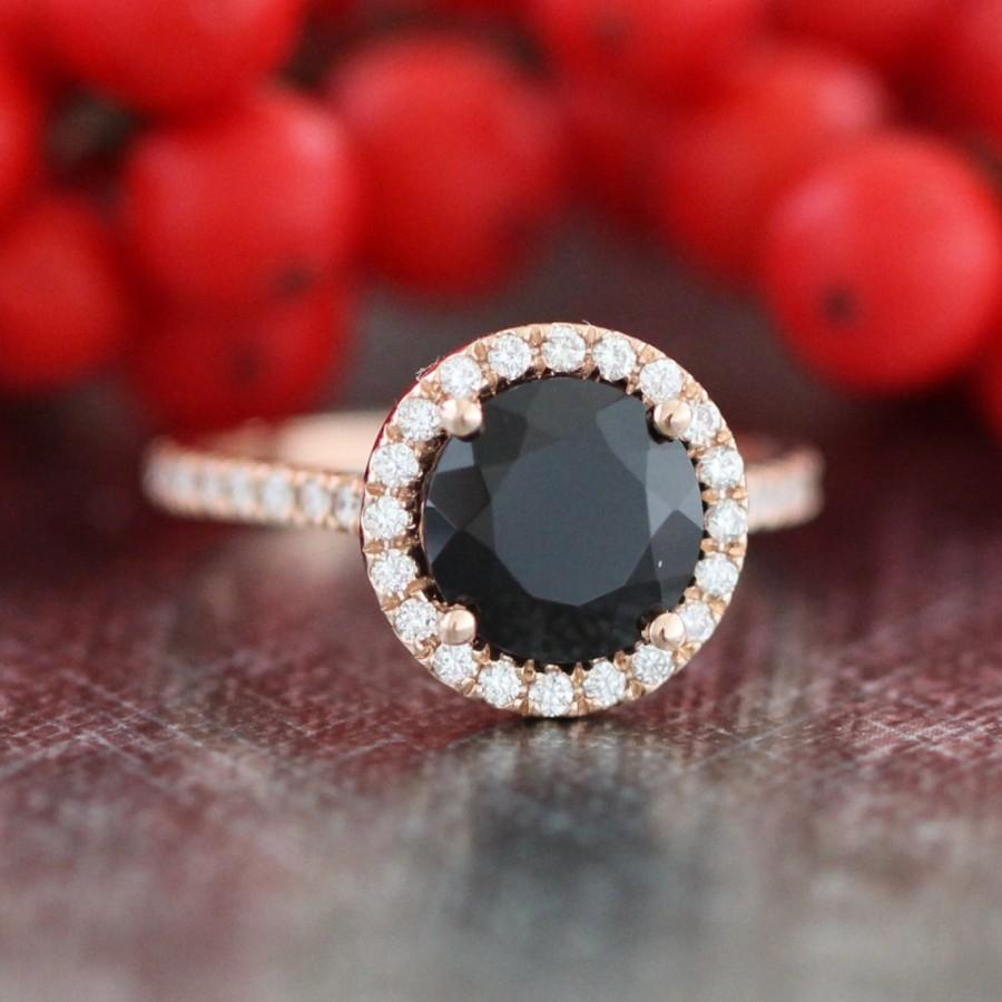 Wedding - Black Spinel Gemstone Halo Diamond Engagement Ring in 14k Rose Gold Half Eternity Diamond Wedding Band (Bridal Wedding Ring Set Available)