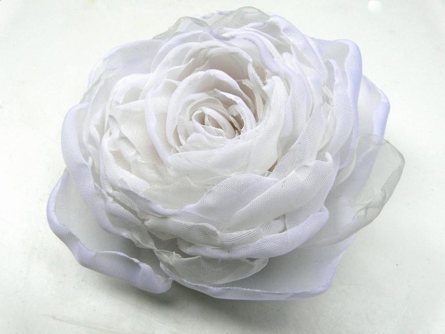 White Wedding Hair Flower Clip Elegant Bridal Snow