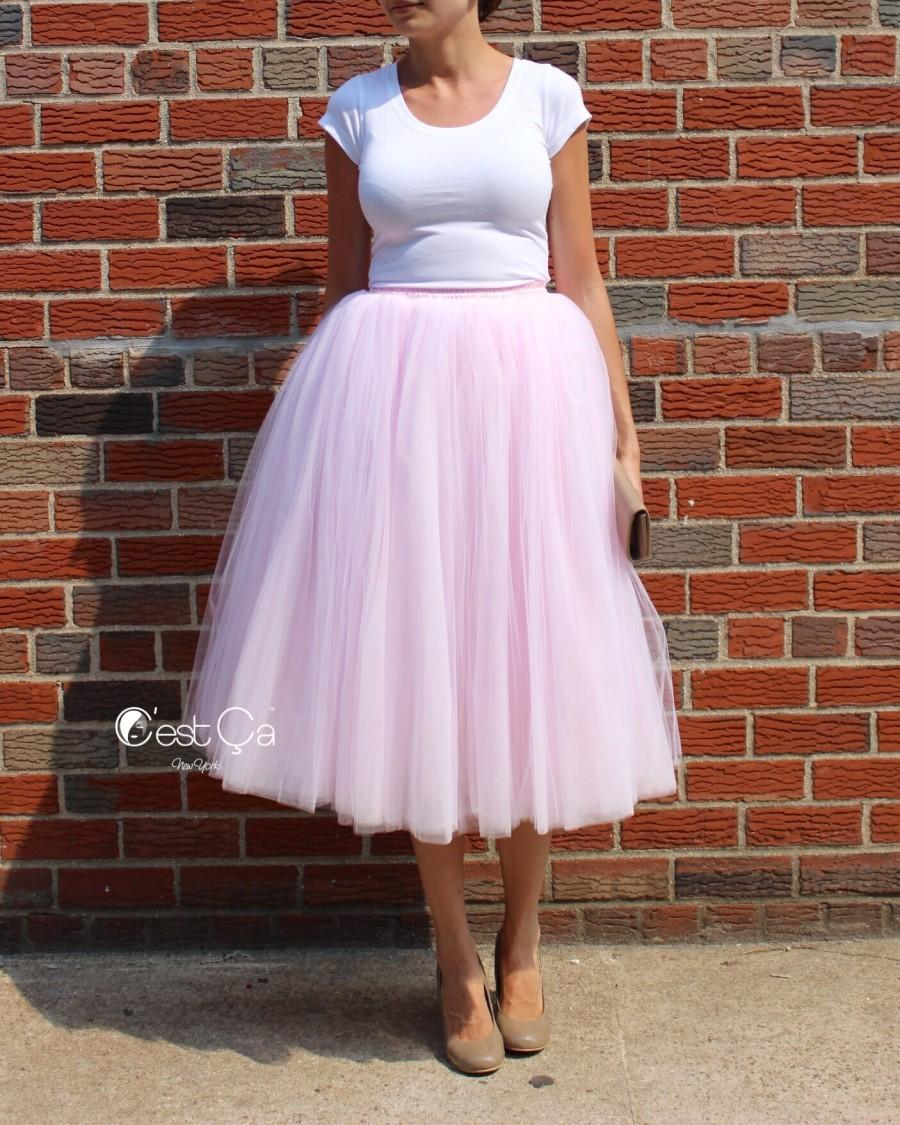 b3f92fb13c Clarisa Blush Pink Tulle Skirt - Tea Length #2475025 - Weddbook