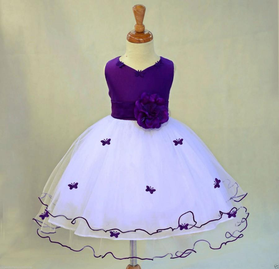 Wedding - Ivory Purple Flower Girl butterfy tulle dress tie sash pageant wedding bridal recital children toddler size 12-18m 2 4 6 8 10