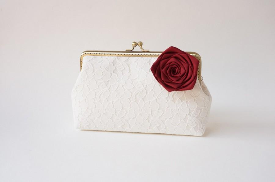 Hochzeit - Fall wedding red clutch, create a keepsake for your bridesmaids - You Choose Lining, Flower, and Personalization