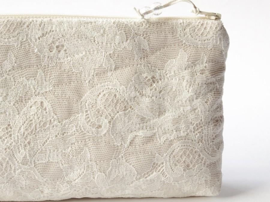 Hochzeit - Cream Lace Clutch for Bride, Nude Wedding Purse, Minimalist Lace Purse, Stylized Lace Roses Bag