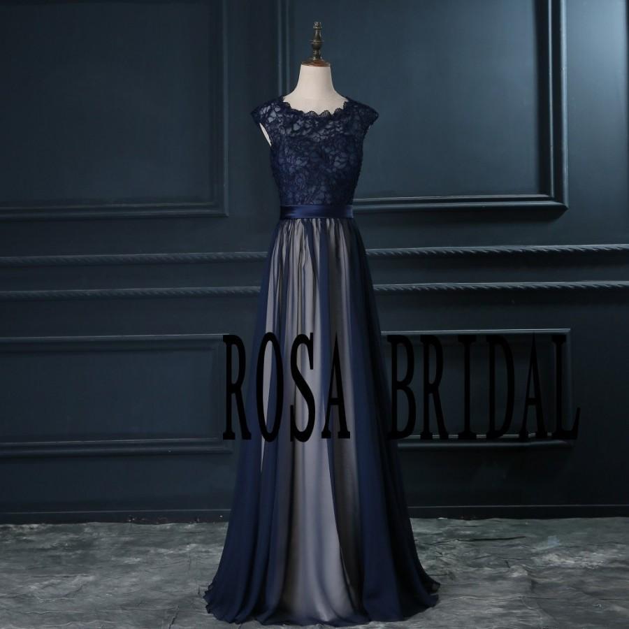 Свадьба - Navy blue bridesmaid dress , Cap sleeve bridesmaid dress , Long chiffon lace navy bridesmaid Custom Size color