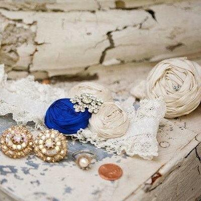 Hochzeit - Bridal Garter Set Something Blue Wedding Garters Vintage Stretch Lace Garter Rhinestone Crystal Jewel