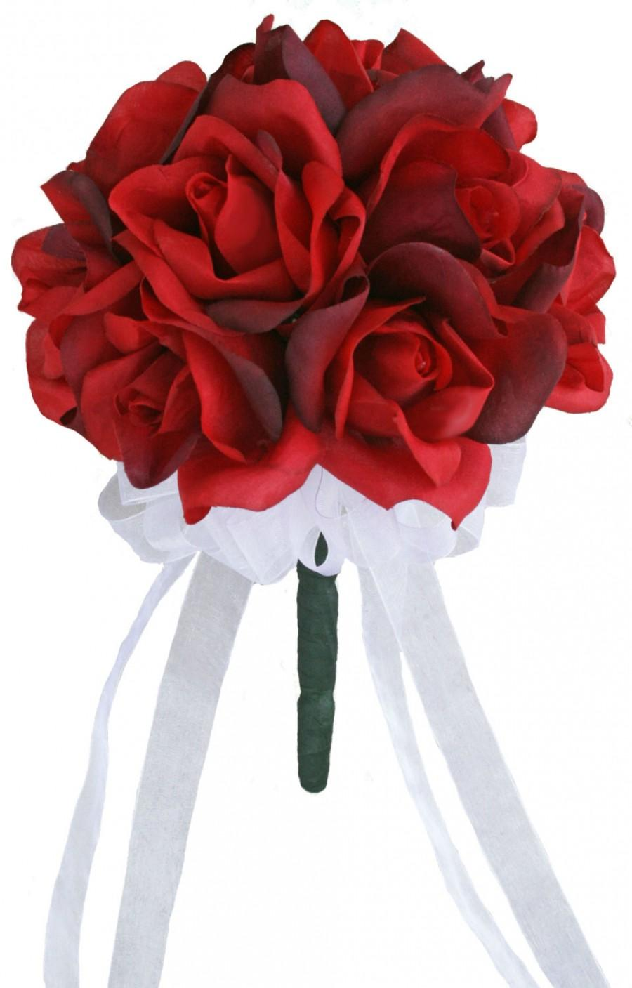 Свадьба - Red Silk Rose Toss Bouquet - Silk Wedding Toss Bouquet