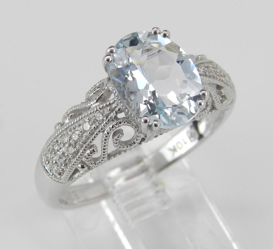 Wedding - Diamond and Aquamarine Engagement Ring Promise Ring Aqua White Gold Size 6.5 March Birthstone