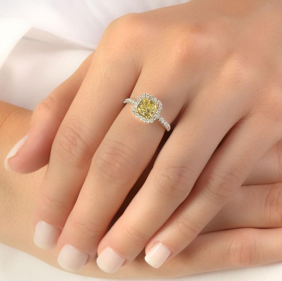Wedding - 1.36 CT Cushion Yellow Diamond Engagement Ring, Solitaire With Accents 18KT White Gold Ring, Size 7 Anniversary Jewelry
