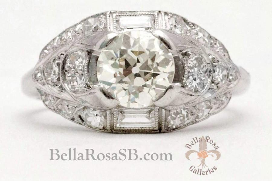Wedding - 1.55tcw Old European Cut Diamond Accent Diamonds Platinum Art Deco Vintage Engagement Ring Bridal Estate Original EGL Certificate
