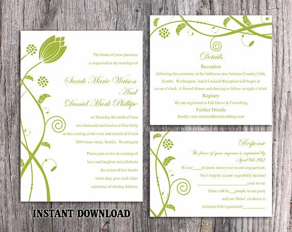 Wedding - DIY Wedding Invitation Template Set Editable Word File Instant Download Printable Invitations Green Wedding Invitations Flower Invitation