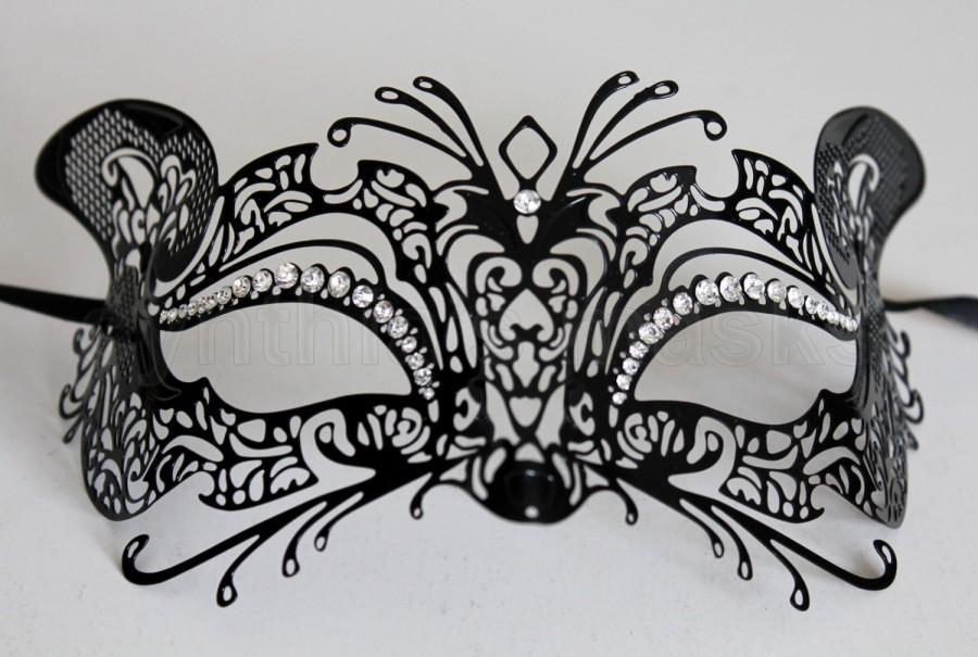 Mariage - Black laser cut Venetian Kitty Cat Mask Masquerade w/ Clear Rhinestones ME-02CL SKU: 6E31B