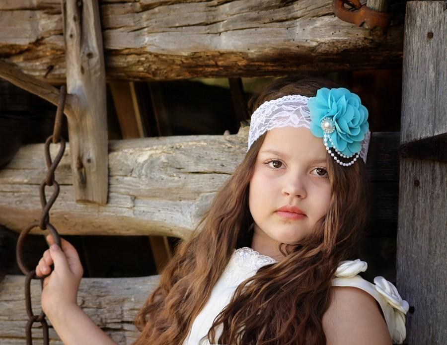 Mariage - Turquoise Flower Headband, Flower Girl Headband, Turquoise Bridal Headband, White Lace Headband, Wedding Headband, Blue Wedding, Blue Rose