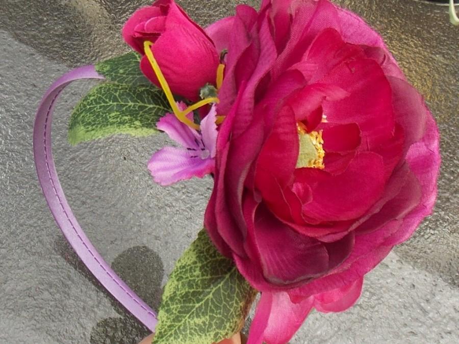 Deep pink or red fairy flower fascinator headband with roses green deep pink or red fairy flower fascinator headband with roses green leaves and pink flowers rose bridal crown floral wreath g03 mightylinksfo