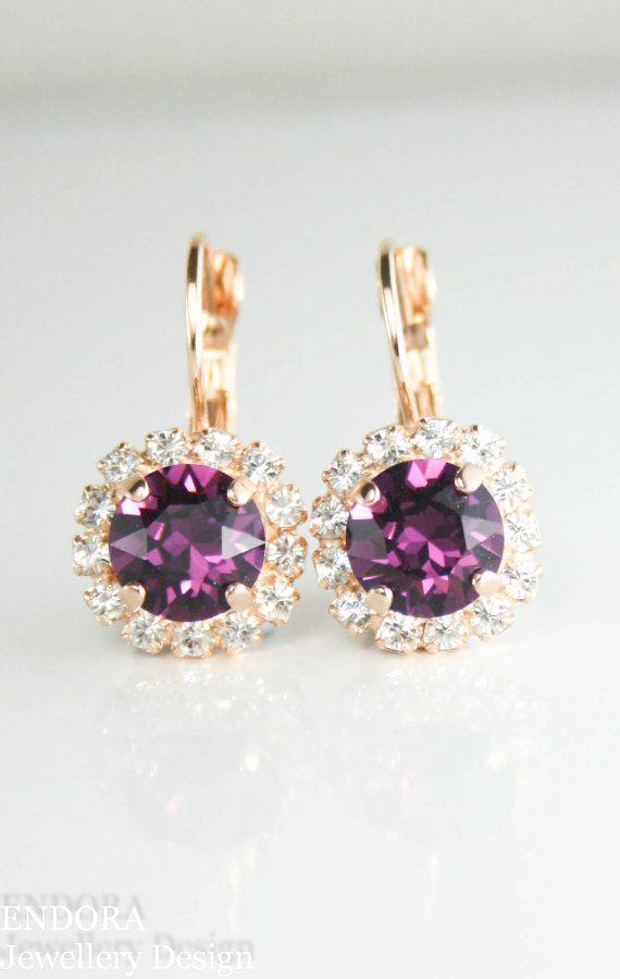 Wedding - Swarovski Bridal Earrings,swarovski Bridesmaid Earrings,amethyst Earrings,swarovski Amethyst Earrings,rose Gold Earrings,february Birthstone