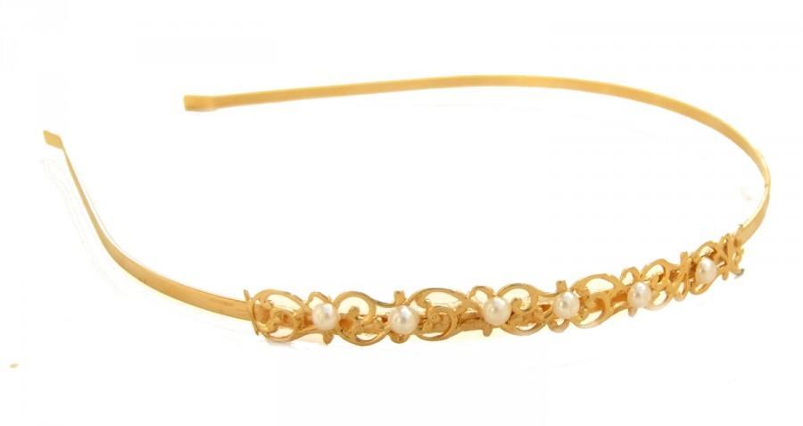 Mariage - Gold and Pearl Headband ,Hair Piece ,Bridal Headband, Wedding Hair Accessories ,Filigree headband,