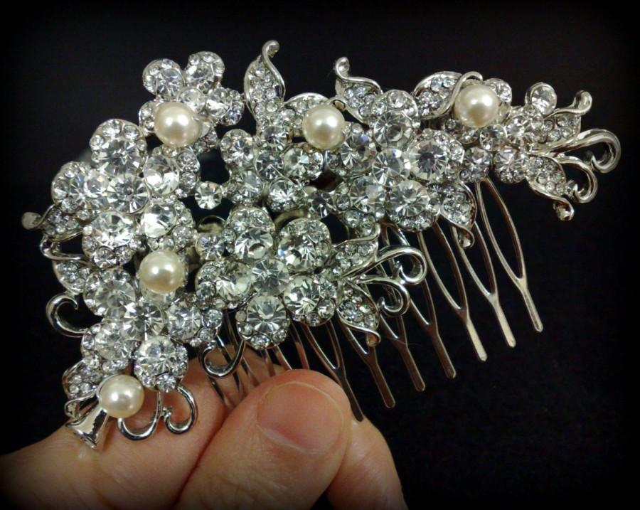 Свадьба - Bridal Hair Comb, Floral Headpiece, Pearl Crystal Hair Jewelry, Woodland Wedding, BLOSSOM