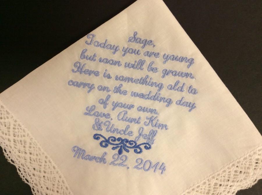 Свадьба - JUNIOR BRIDESMAID Flower Girl Wedding Handkerchief - Keepsake Hanky
