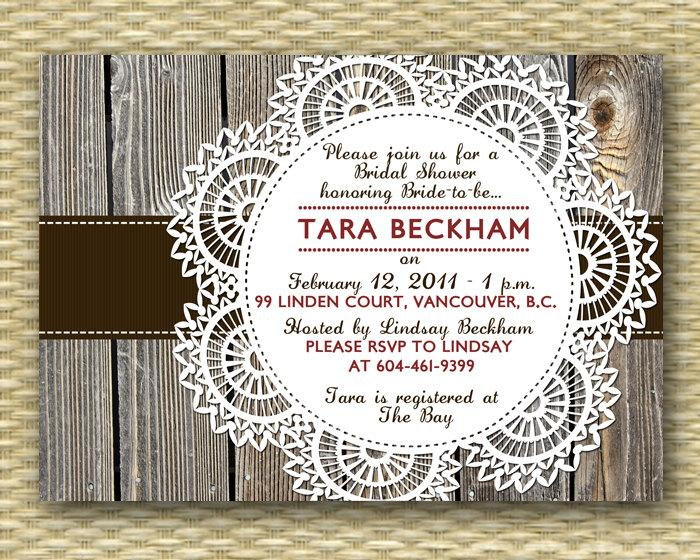 Wedding - Fall Bridal Shower Invitation Rustic Couples Shower Invite I Do BBQ Invitation Rustic Wood Lace Doily, Any Event, ANY COLORS