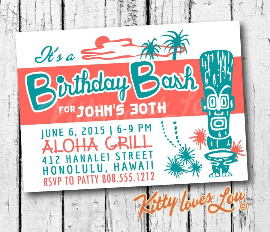 picture about Printable Luau Invitations named PRINTABLE Birthday Occasion Invitation Electronic PDF Tiki Invite