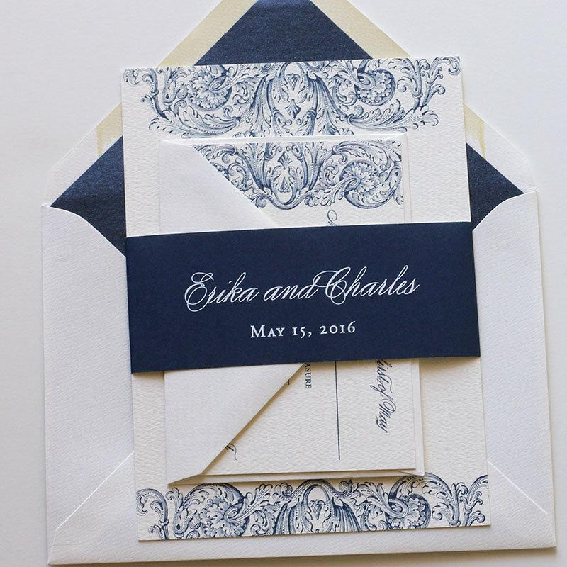 navy wedding invitation whimsical wedding invitation romantic