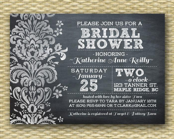 Düğün - Chalkboard Bridal Shower Invitation Black White Damask Wedding Shower Birthday Invitation Elegant Bridal Shower, ANY EVENT, Any Colors