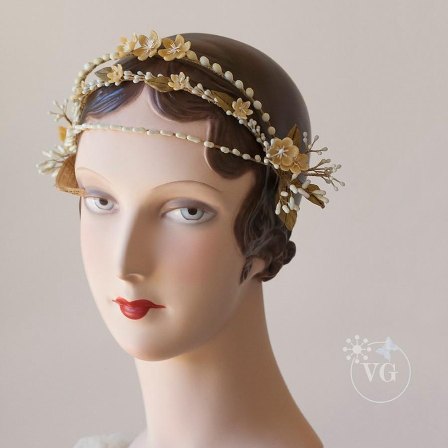 Mariage - Sweet 1920's Jazz Age Wax Wedding Orange Blossom Headpiece Deadstock with Tags Vintage 20's Art Deco Bohemian