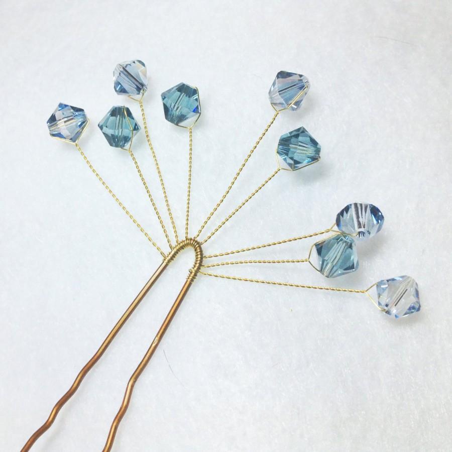 Blue Crystal Bobby Pins Pair Of Elegant Swarovski Spray