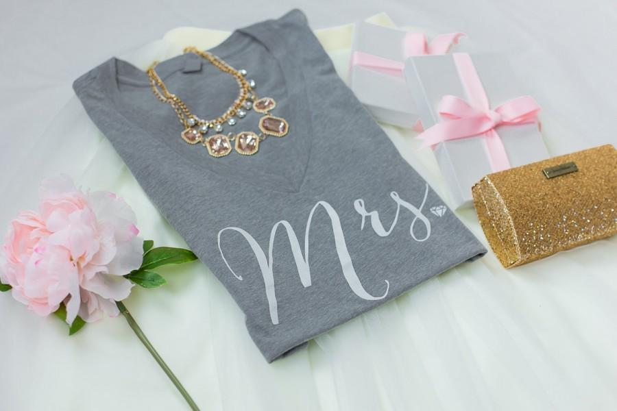 Mrs Bride Shirt Tee Wifey To Be T V Neck Gifts For Bridal Shower Gift Bachelorette Party