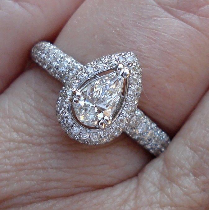 Свадьба - Certified Pear Diamond Engagement Ring Pave Halo 14K White Gold 1.21 Carat