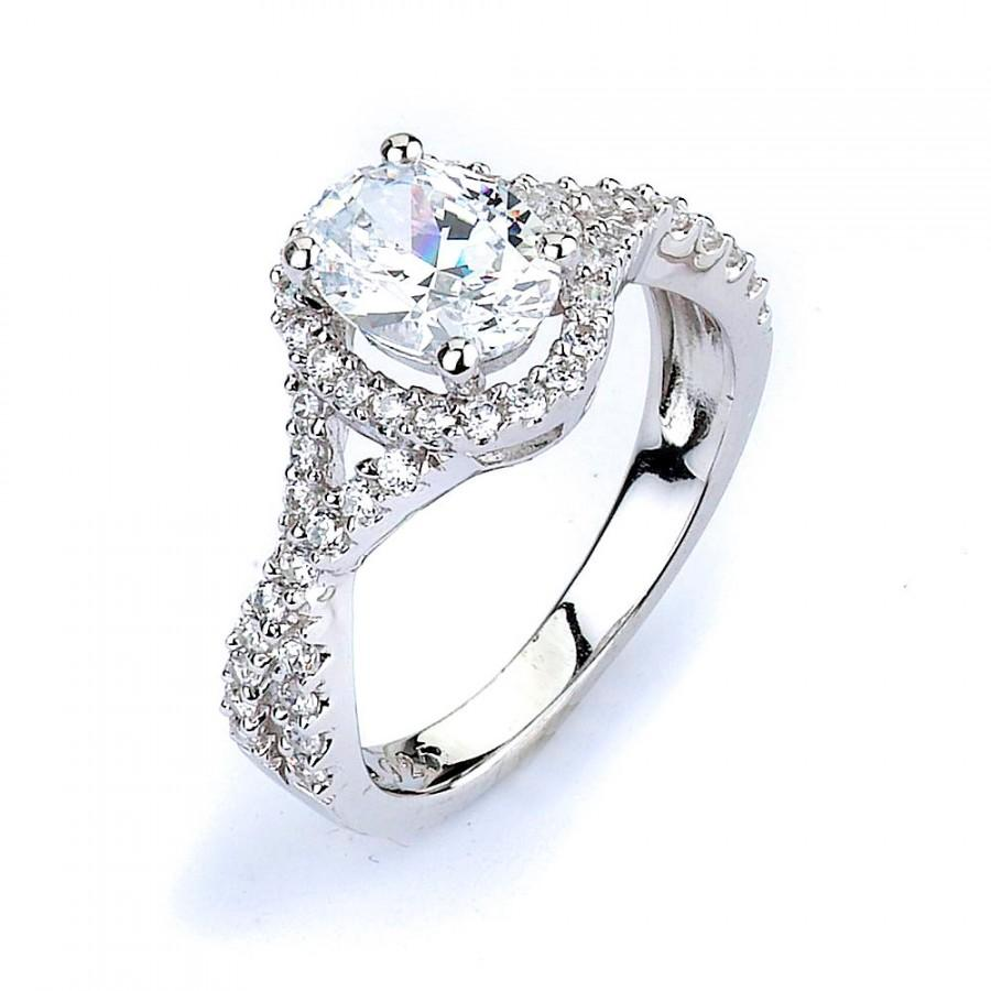 Oval CZ Halo Engagement Ring Twisted Split Shank Wedding Cubic Zirconia Sil