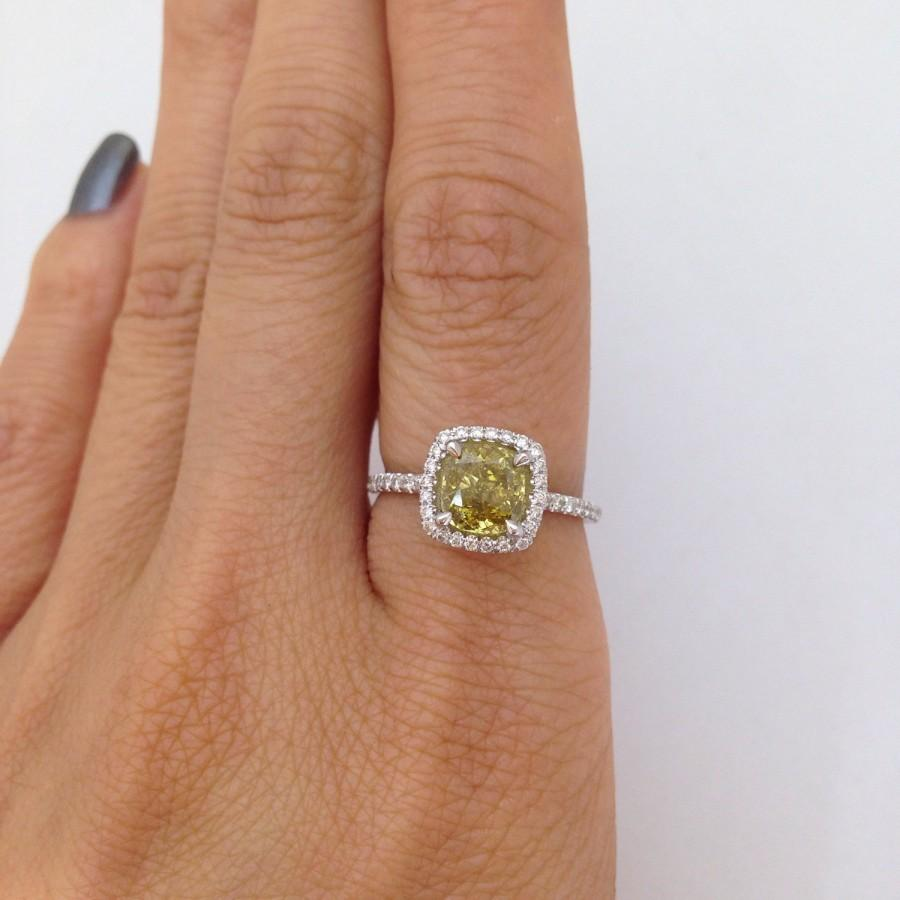 121 Carat Cushion Cut Natural Yellow Diamond Engagement Ring  Color  Changing Chameleon Diamond 14k White Gold Halo Wedding