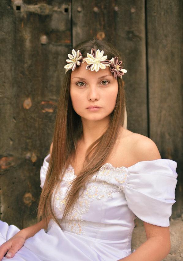 Bridal Forehead Band Cream Beige Headband Kanzashi Flower Head Piece Flapper Boho Hair Satin Necklace Wedding