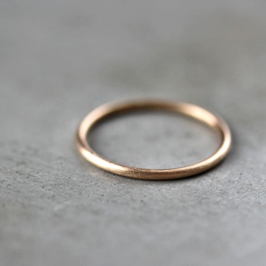 Свадьба - Women's Slim Gold Wedding Band, Skinny Round Recycled 14k Yellow Gold Ring Brushed Gold Wedding Ring or Stacking - Made in Your Size