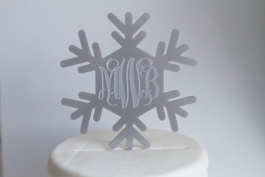 Свадьба - Snowflake Monogrammed Cake Topper