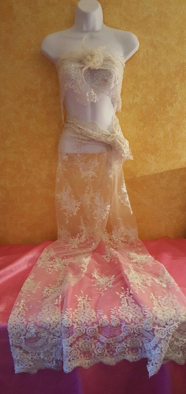 زفاف - Sexy Bridal Ivory Beaded Sequin Scalloped Lace Bikini Bandeau & Maxi Skirt Sarong Set Bridal Wedding Gown Party Club Evening - (more colors)