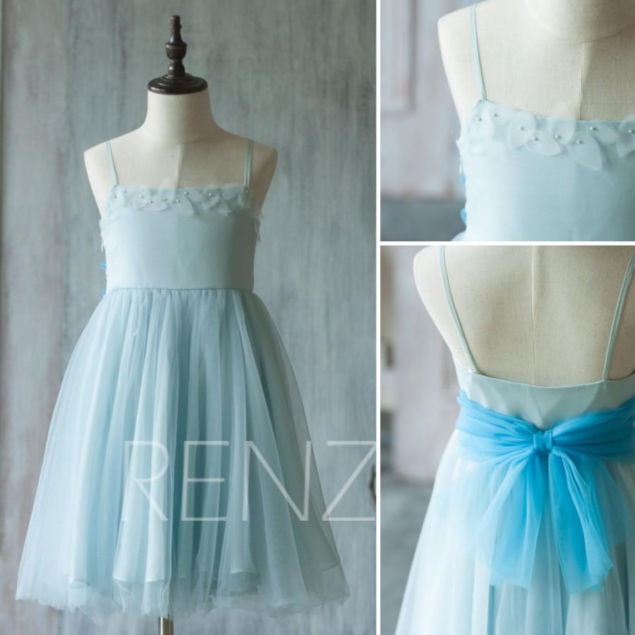 Свадьба - 2015 Light Blue Junior Bridesmaid Dress, Flower Girl Dress, Mesh Beading Dress (LK053)