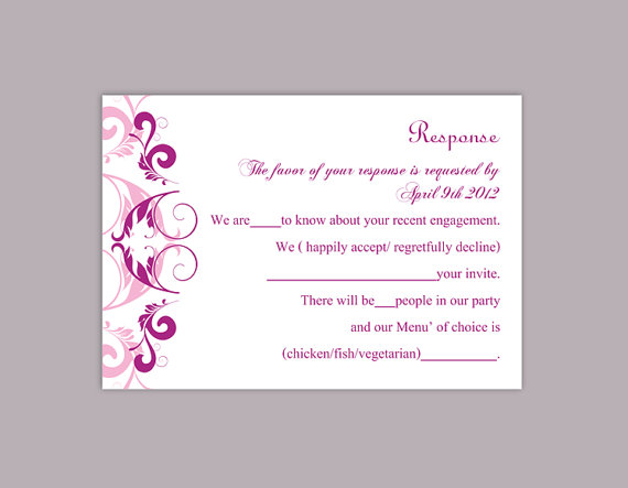 Свадьба - DIY Wedding RSVP Template Editable Word File Instant Download Rsvp Template Printable RSVP Cards Purple Lilac Rsvp Card Elegant Rsvp Card