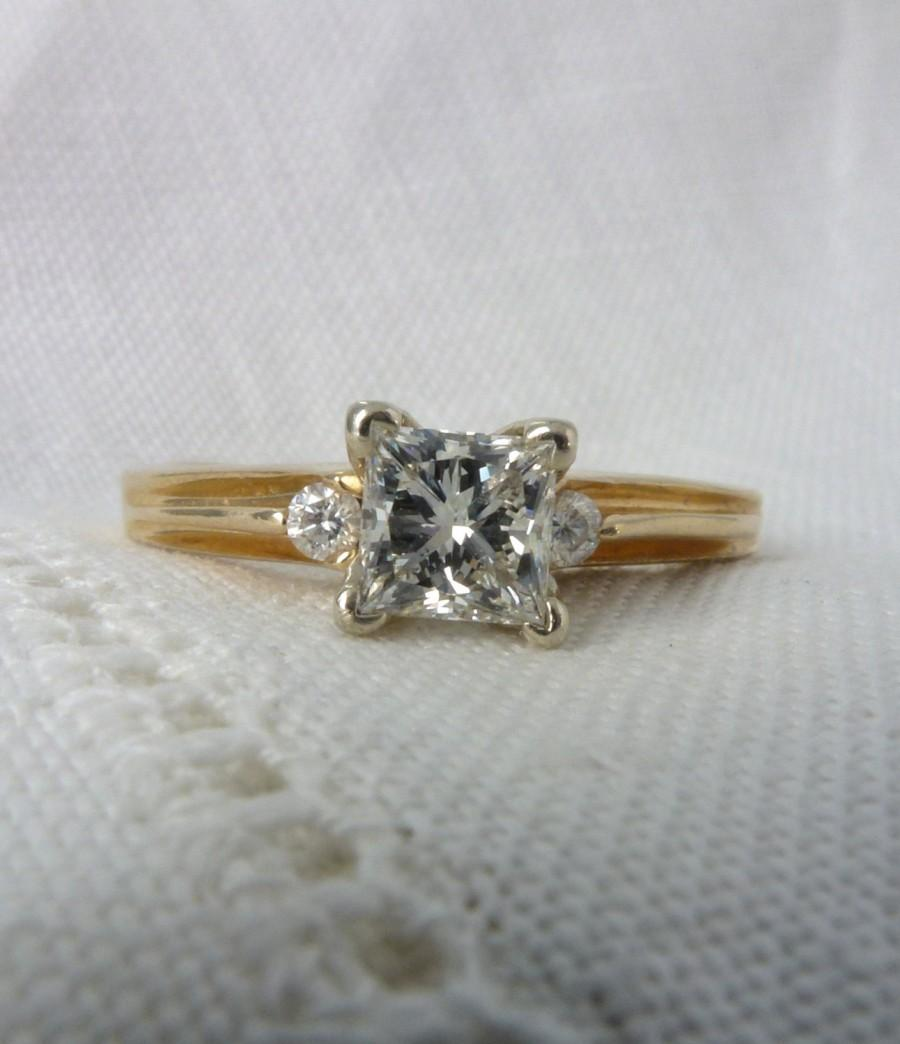 Wedding - A Vintage Princess Cut Diamond Engagement Ring in 14kt Yellow Gold - Elaine