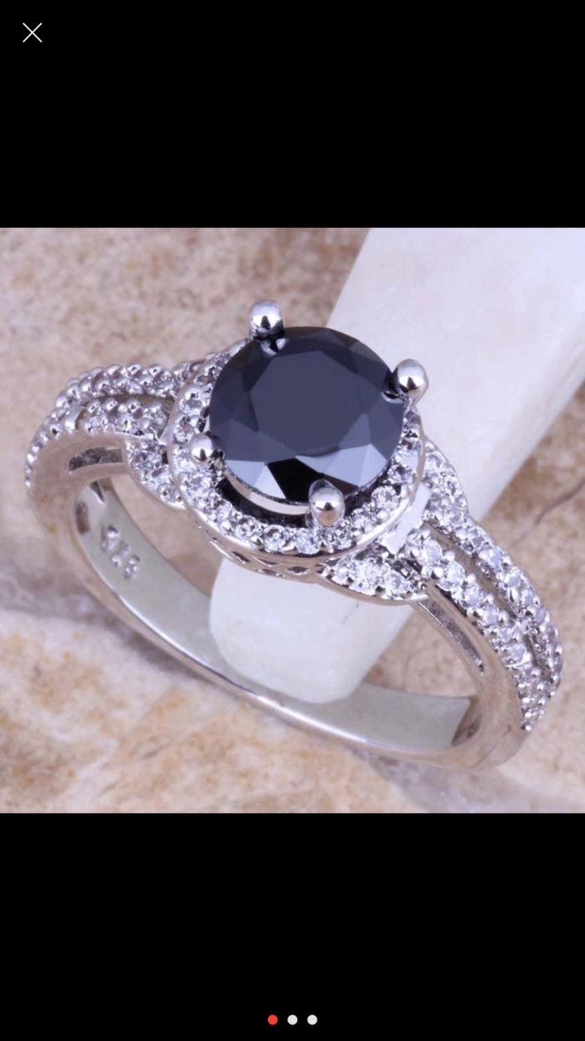 003110ad8bba7 Onyx Cubic Zirconia Ring Sterling Silver Ring Engagement Ring ...