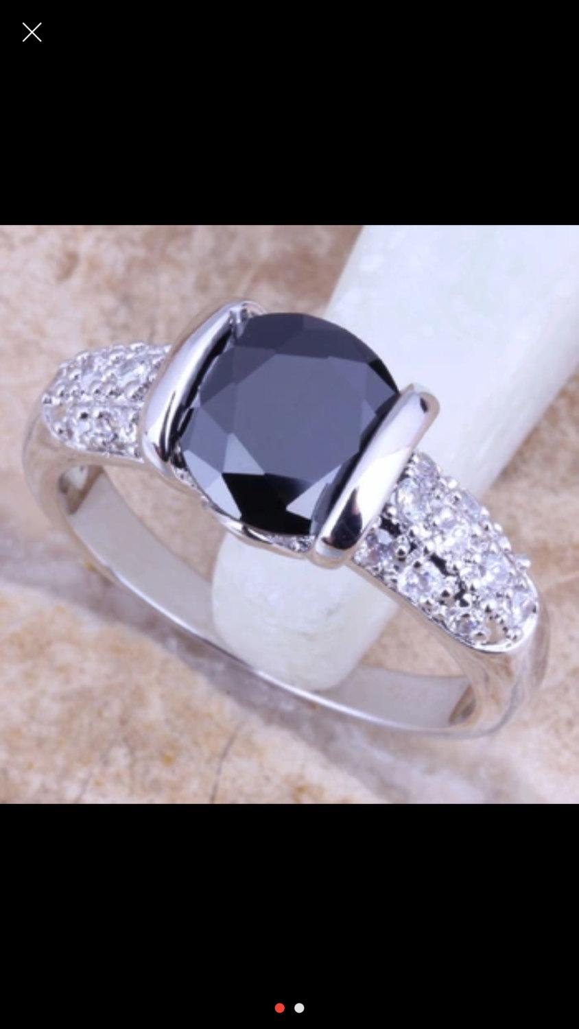 Mariage - Onyx Cubic Zirconia Ring Sterling Silver Ring Engagement Ring Jewelry Bridal Jewelry CZ Jewelry Wedding Ring CZ Ring Promise Ring