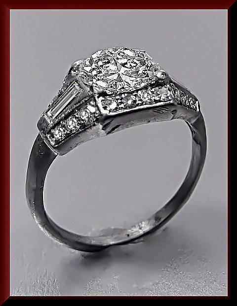 Свадьба - Antique Vintage 1930's Art Deco Platinum Diamond Engagement Ring