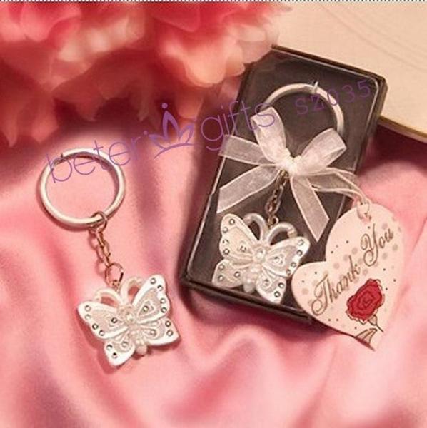 Wedding - 珍珠色镶钻蝴蝶钥匙扣SZ035婚庆用品,创意回礼满月酒回赠商务礼品